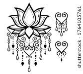 lotus flower yoga vector design ... | Shutterstock .eps vector #1764105761