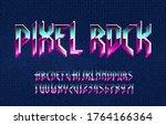 pixel rock alphabet font.... | Shutterstock .eps vector #1764166364
