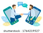 two businessmen talk through... | Shutterstock .eps vector #1764219527