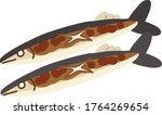 Illustration of flat colored cooked saury fish