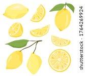 set of vector flat lemons ... | Shutterstock .eps vector #1764269924