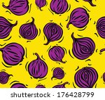 purple onion on yellow seamless ...