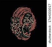 gorilla line art vector design   Shutterstock .eps vector #1764333017