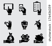 business hand with object icons ...