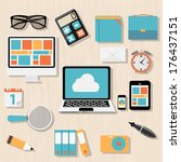modern flat icon set for web... | Shutterstock . vector #176437151