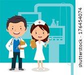 doctor and nurse. vector... | Shutterstock .eps vector #176454074