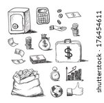 set of business hand drawn icons | Shutterstock . vector #176454611