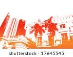 orange trendy and modern city... | Shutterstock . vector #17645545