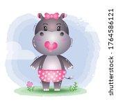 cute baby girl hippo in the children's style. cute cartoon hippopotamus vector illustration