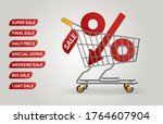 percent down. shopping trolley...   Shutterstock .eps vector #1764607904
