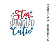 star spangled cutie calligraphy ... | Shutterstock .eps vector #1764648011