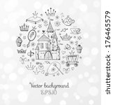 accessories,background,beautiful,beauty,card,carriage,cartoon,castle,cheerful,collection,crown,cupcake,cute,design,diamond
