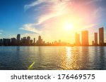 Miami Florida  Sunset  With...