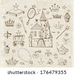 accessories,beautiful,beauty,carriage,cartoon,castle,cheerful,collection,crown,cupcake,cute,design,diamond,doodle,drawing