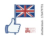 Thumb Up With Flag Of United...