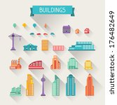 cityscape icon set of buildings. | Shutterstock .eps vector #176482649