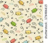 cartoon seamless pattern with... | Shutterstock .eps vector #176486615