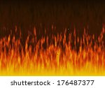red flame of fire with smoke | Shutterstock . vector #176487377