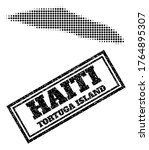 Halftone map of Haiti Tortuga Island, and grunge seal stamp. Halftone map of Haiti Tortuga Island constructed with small black circle items. Vector seal with distress style, double framed rectangle,