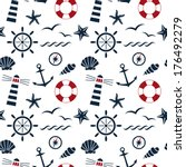 nautical seamless pattern on...