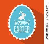 happy easter over red... | Shutterstock .eps vector #176495594