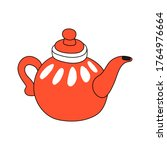 red round teapot for tea. | Shutterstock .eps vector #1764976664