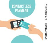 contactless payment pay with... | Shutterstock .eps vector #1765009817