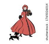 Elegant Woman In Red Fur Coat...