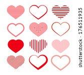 heart set. red valentine... | Shutterstock . vector #176511935