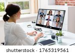 online video conference call.... | Shutterstock . vector #1765319561