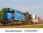 Two Locomotives Pulling A Train ...