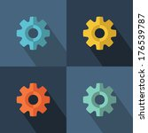 gear icon set with long shadow. ... | Shutterstock .eps vector #176539787