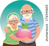 Stock illustration Elderly couple retired/Elderly couple retired/Elderly husband and wife in a piggy bank in hand
