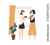 funny girl giving gift box with ... | Shutterstock .eps vector #1765471691