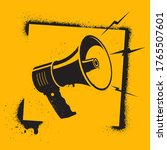 megaphone in stencil style.... | Shutterstock .eps vector #1765507601