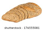 multi grain bread with slices - stock photo