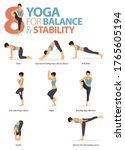 infographic of  8 yoga poses... | Shutterstock .eps vector #1765605194