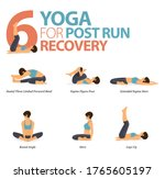 infographic of 6 yoga poses for ... | Shutterstock .eps vector #1765605197