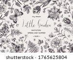 vintage botanical card with... | Shutterstock .eps vector #1765625804
