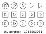 stroke line icons set of play...