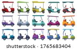 Golf Car Vector Cartoon Set...