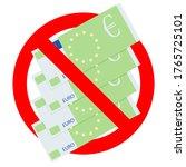 prohibited euro cash. ban bribe ... | Shutterstock .eps vector #1765725101
