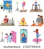 girls and boys bloggers making...   Shutterstock .eps vector #1765754414