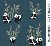 panda seamless pattern bamboo... | Shutterstock .eps vector #1765782284