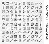 doodle kitchen icons   Shutterstock .eps vector #176579927