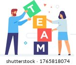 people stack cubes teamwork....