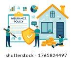 house insurance concept. house...   Shutterstock .eps vector #1765824497