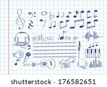music notes and music icons | Shutterstock .eps vector #176582651