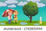 boy   girl wearing raincoat... | Shutterstock .eps vector #1765853444