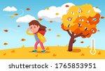 girl kid struggle walking... | Shutterstock .eps vector #1765853951
